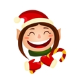 Cartoon cute christmas girl - elf holding a candy vector image vector image