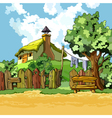 cartoon village house with a courtyard vector image vector image
