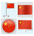China flag - sticker button label flagstaff vector image vector image