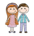 color pencil drawing of caricature couple in suit vector image vector image
