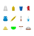 Colored icons for kitchenware vector image