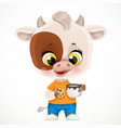 cute cartoon baby calf with cookies and a cup vector image vector image