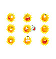 cute cartoon sun various emoticons emotional face vector image