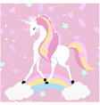 cute unicorn sweet pink background vector image