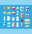 dairy products set collection of milk food vector image vector image