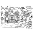 design set with christmas cottage house 3 vector image