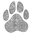 dog paw print zentagle vector image vector image