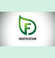 f leaf logo letter design with green leaf outline vector image vector image