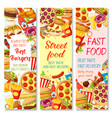 fast food restaurant menu banner with snack meal vector image vector image