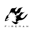 fireman in flame abstract design template vector image vector image