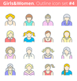 flat line women avatars vector image