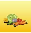 Fresh green vegetables vegetarian cuisine vector image