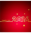 Golden 2016 New Year with stars on red background vector image vector image