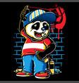 graffiti character cute panda holding a spray vector image vector image