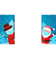 greeting card with santa and snowman in masks vector image