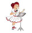 happy girl singing on mike vector image vector image