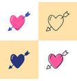 heart with arrow icon set in flat and line styles vector image