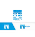 host and arrow up logo combination server vector image