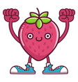 kawaii smiling strawberry fruit with sneakers vector image