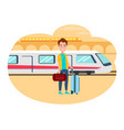 man with baggage wait for train at railway station vector image vector image