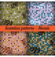 Mosaic with palm leaves Set of seamless patterns vector image