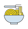 noodle in bowl food set filled outline icon vector image