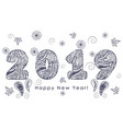 patterned figures 2019 happy new year vector image