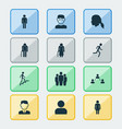 person icons set collection of network ladder vector image