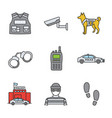 police color icons set vector image