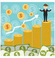 Rich and Success Businessman on Top of Gold Coins vector image