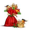 santa red bag with presents detailed vector image vector image