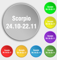 Scorpio icon sign Symbol on eight flat buttons vector image vector image