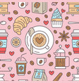 seamless pattern of coffee background vector image