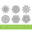 set of ethnic fractal mandala meditation tattoo vector image vector image