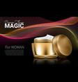 splendid cosmetic product poster golden bottle vector image vector image