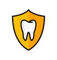 tooth shield logo icon dental insurance flat vector image