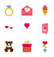 valentine day icons set flat style vector image