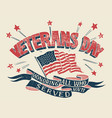 veterans day hand-lettering poster vector image vector image