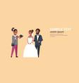 wedding photographer shooting on camera newlyweds vector image vector image
