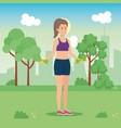 woman weight dumbbells character vector image