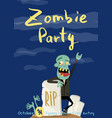 zombie party poster with happy undead man vector image vector image