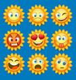 emoji sun and sad icon set vector image