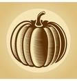 Pumpkin label in retro vintage style vector image