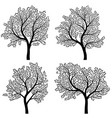 abstract silhouettes of trees with leaves vector image vector image