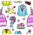 art of wedding element doodle style vector image vector image