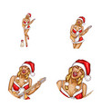 avatar of pop art christmas girl vector image vector image
