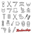 barber shop salon outline icons monochrome vector image