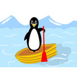 beautiful penguin floating on a yellow inflatable vector image vector image
