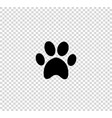 black animal pawprint icon isolated on vector image