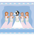 Bride with bridesmaids vector image